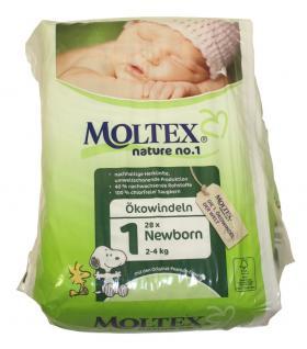 28 St. Gr.1 NEWBORN MOLTEX Nature No1 Ökowindeln Babywindeln Gr 1 = 2-4 kg Windeln