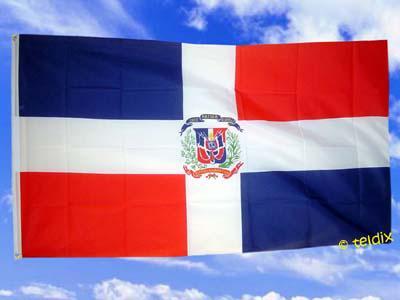 Fahne Flagge DOMINIKANISCHE REP. M. WAPPEN 150x90cm