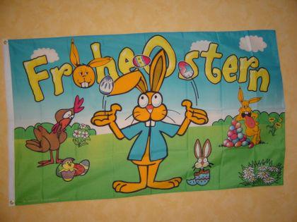Fahne Flagge FROHE OSTERN HUHN 150x90cm