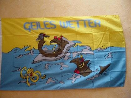 Fahne Flagge GEILES WETTER 135 x 90 cm