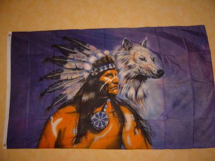 Fahne Flagge INDIANER MIT WOLF 150 x 90 cm
