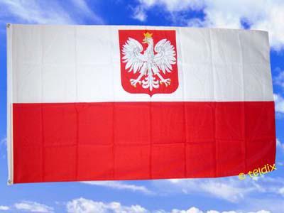 Fahne Flagge POLEN MIT WAPPEN 150 x 90 cm