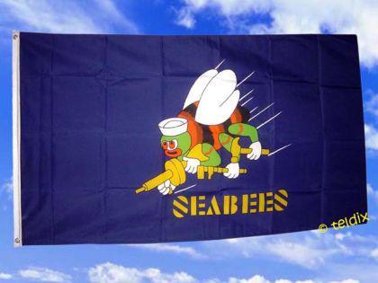Fahne Flagge SEABEES Seebiene 150 x 90 cm