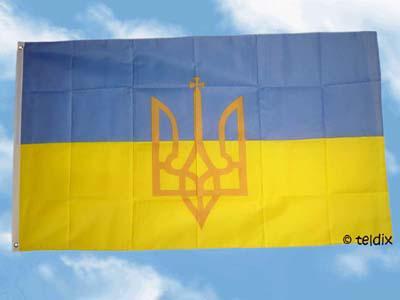Fahne Flagge UKRAINE MIT WAPPEN 150 x 90 cm