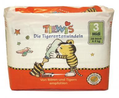 190 St. Gr. 2 MIDI Tiewis - Tiewis Die Tigerentenwindeln Gr 3 = 4-9 kg 5 x 38 Windeln