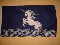 Fahne Flagge EINHORN BLAU HINTERGR. 150X90cm