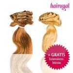 1 Hairoyal® Clip-on-Tresse in gewellter Struktur inkl. gratis Hairoyal® Profi-Extensionsbürste