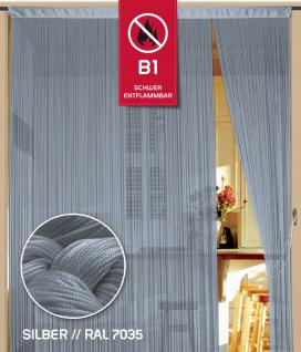 Fadenvorhang 090 cm x 240 cm (BxH) silber in B1 schwer entflammbar