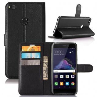 Tasche Wallet Premium Schwarz für Huawei New P8 Lite 2017 Hülle Case Cover Etui