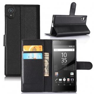 Tasche Wallet Premium Schwarz für Sony Xperia XA1 Hülle Case Cover Etui Schutz