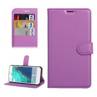 Bookcover Tasche Wallet Design für Google Pixel 5.0 Schutzhülle Hülle Etui Lila