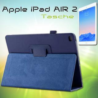 Schutzhülle Kunstleder Tasche Blau für Apple iPad Air 2 2014 Case Kappe Hülle
