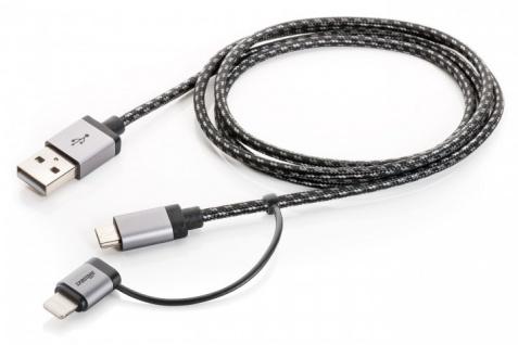 2in1 Datenkabel Ladekabel Lightning Micro USB 1 Meter Stoff Grau Charge / Sync