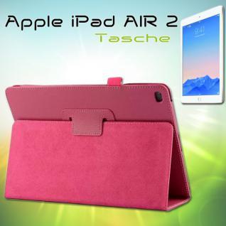 Schutzhülle Kunstleder Tasche Pink für Apple iPad Air 2 2014 Hülle Case Kappe