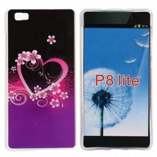 Schutzhülle Silikon Muster 17 für Huawei Ascend P8 Lite Tasche Case Hülle Schutz