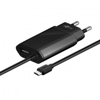 Slim Micro USB Ladegerät Adapter Lade Stecker 2.1A USB + micro-USB 1, 5 m Schwarz