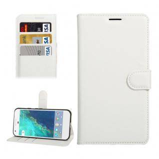 Bookcover Tasche Wallet Design für Google Pixel 5.0 Schutzhülle Hülle Etui Weiss