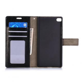 Schutzhülle Schwarz für Huawei Ascend P8 Bookcover Tasche Hülle Wallet Case Neu