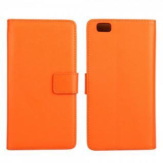Schutzhülle Orange für Huawei Ascend P8 Lite Bookcover Tasche Hülle Wallet Case