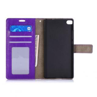 Schutzhülle Lila für Huawei Ascend P8 Bookcover Tasche Hülle Wallet Case Schutz