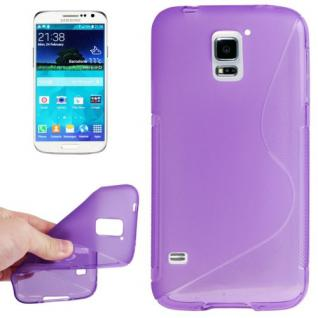 Silikonhülle S-Line Lila Schutz Cover Case Kappe Hülle für Samsung Galaxy S5 Neu