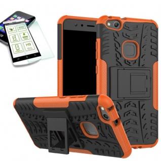 Hybrid Case Tasche Outdoor 2teilig Orange für Huawei P10 Lite Hülle Panzerglas