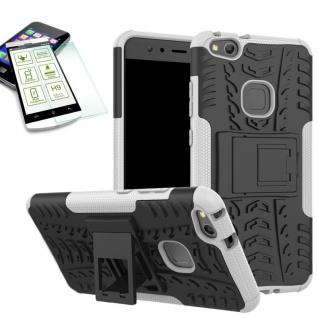 Hybrid Case Tasche Outdoor 2teilig Weiß für Huawei P10 Lite Hülle + Panzerglas