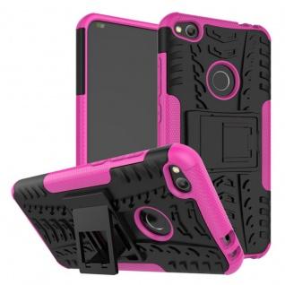 Hybrid Case 2teilig Outdoor Pink für Huawei P8 Lite 2017 Tasche Hülle Cover Etui