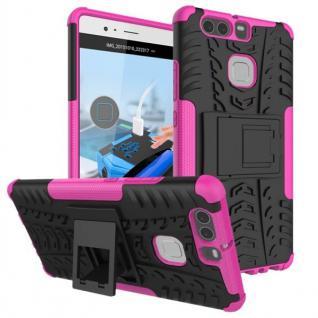 New Hybrid Case 2teilig Outdoor Pink für Huawei P9 Tasche Hülle Cover Schutz Neu