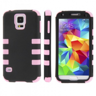 Hybrid Case 3teilig Gripp Rosa Cover Hülle Zubehör Etui für Samsung Galaxy S5