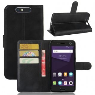Tasche Wallet Premium Schwarz für ZTE Blade V8 Hülle Case Cover Etui Schutz Neu