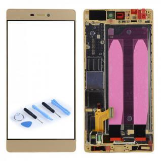 Full LCD Display mit Rahmen Komplett Einheit Gold für Huawei P8 + Opening Tool