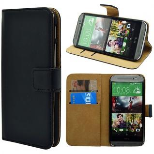 Wallet Tasche Deluxe Schwarz für HTC One Mini 2 2014 Handy Hülle Zubehör Case