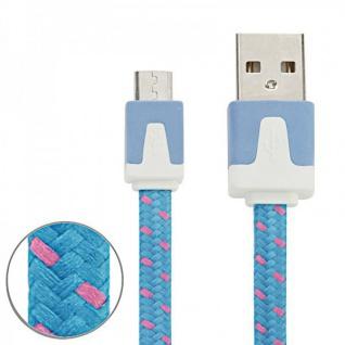 2m USB Daten und Ladekabel Blau für alle Smartphone und Tablet Micro USB Zubehör