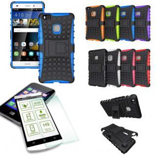 Hybrid Case Tasche Outdoor 2teilig Blau für Huawei P9 Lite + Panzerglas Cover