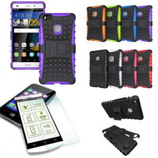 Hybrid Case Tasche Outdoor 2teilig Lila für Huawei P9 Lite + Panzerglas Cover