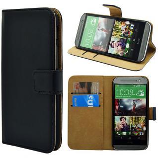 Wallet Tasche Deluxe Schwarz für HTC One 2 M8 Handy Hülle Schutz Zubehör Case
