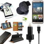 5 in 1 SET für HTC One 3 M9 2015 Wallet Tasche KfZ Halterung KfZ Kabel 1x Folie