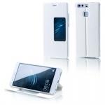 Booktasche Flip Window Weiß für Huawei P9 Plus Tasche Smart Cover Hülle Wake UP