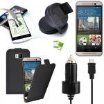 5 in 1 SET für HTC One 3 M9 2015 Flip Tasche KfZ Halterung KfZ Kabel 1x Folie