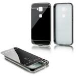 Alu Bumper 2 teilig mit Abdeckung Schwarz für Huawei G8 5.5 Zoll Tasche Hülle