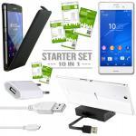 10 in 1 Zubehör SET für Sony Xperia Z3 Compact M55W Tasche Dockingstation Kabel