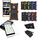 Hybrid Case Tasche Outdoor 2teilig Orange für Huawei P9 Lite + Panzerglas Cover