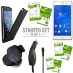 9in 1 Zubehör SET für Sony Xperia Z3 Plus E6553 Tasche Hülle KfZ Halterung Kabel