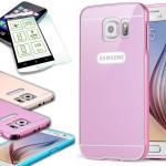 Alu Bumper 2 teilig Rosa + 0, 3 mm H9 Panzerglas Glas für Samsung Galaxy S6 G920F