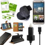 9 in 1 SET für HTC One 3 M9 2015 Wallet Tasche KfZ Halterung KfZ Kabel 3x Folie