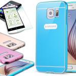 Alu Bumper 2 teilig Blau + 0, 3 mm H9 Panzerglas Glas für Samsung Galaxy S6 G920F