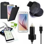 5 in 1 SET für Samsung Galaxy S6 Edge G925F Tasche KfZ Halterung Kabel Folie Neu