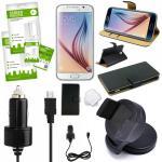 9 in 1 SET für Samsung Galaxy S6 Edge G925F Tasche KfZ Halterung Kabel Folie Neu