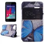 Smartcover Window Muster 31 für Wiko Sunset 2 Bookcover Tasche Hülle Case Flip